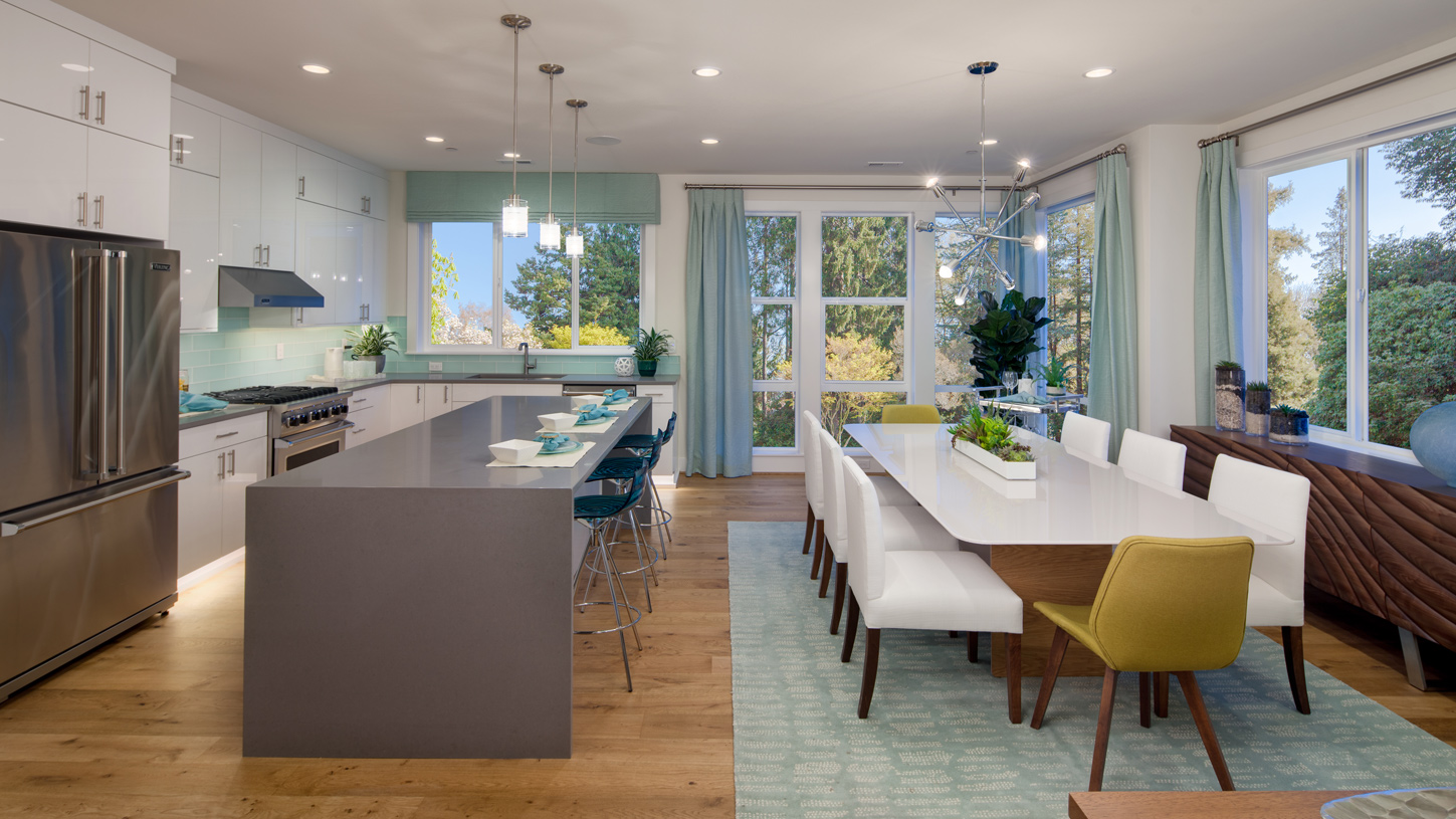 Bright kitchen and generous dining area