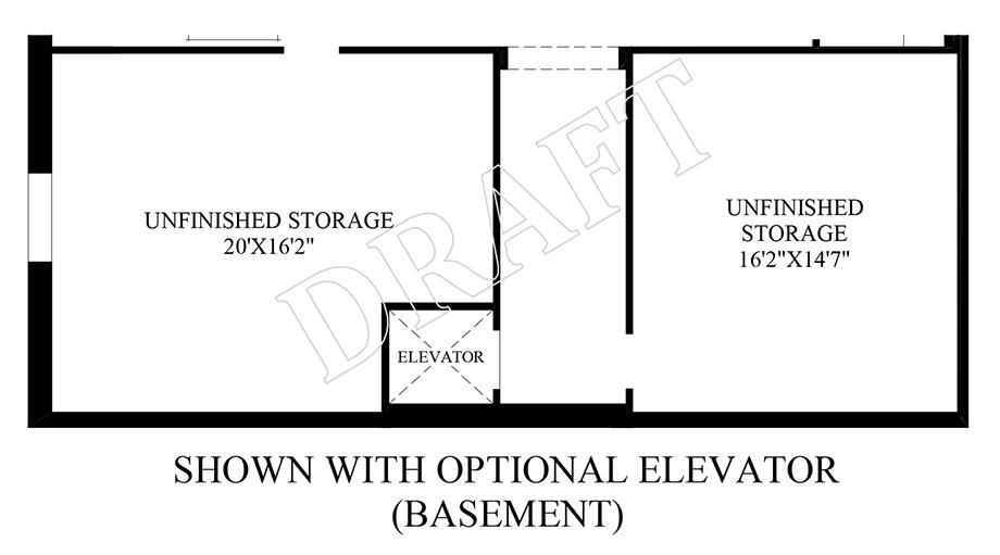 Optional Elevator (Basement) Floor Plan