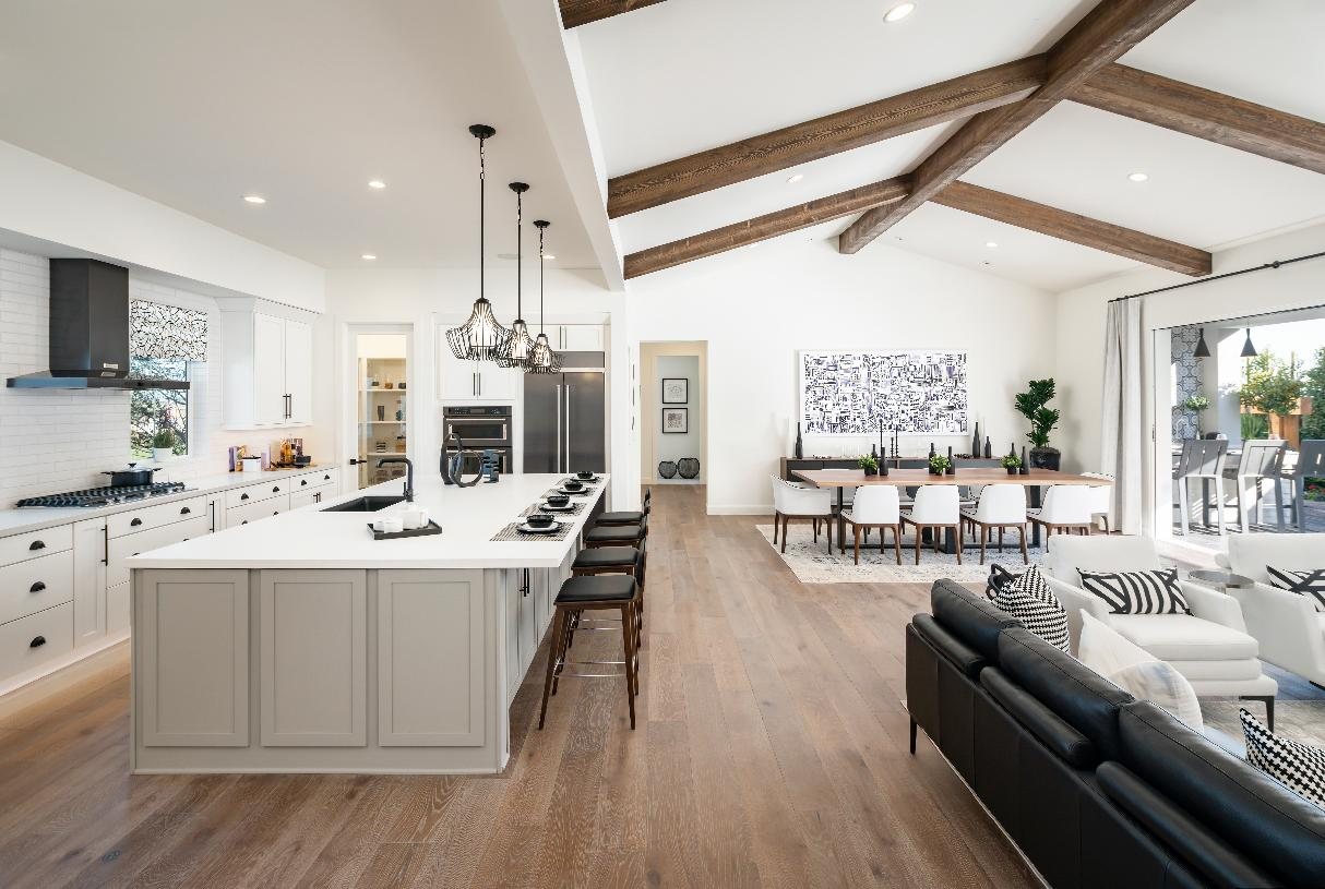 Spacious single-level floor plan with cathedral ceiling and wood beams