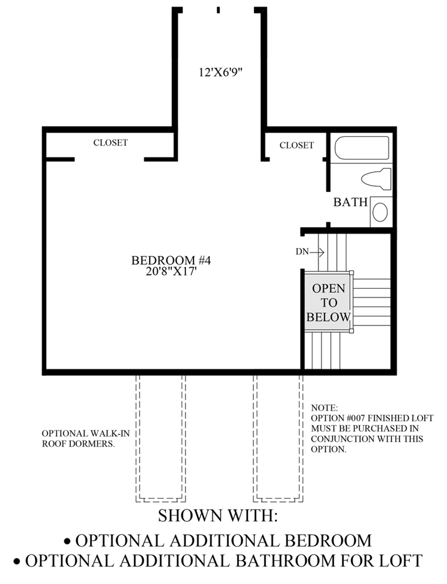 Optional Additional Bedroom & Bathroom for Loft Floor Plan