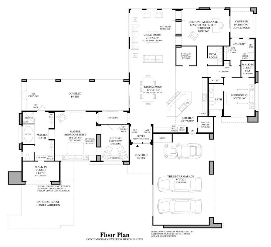 Desert contemporary home plans home design and style for Contemporary floor plans for new homes