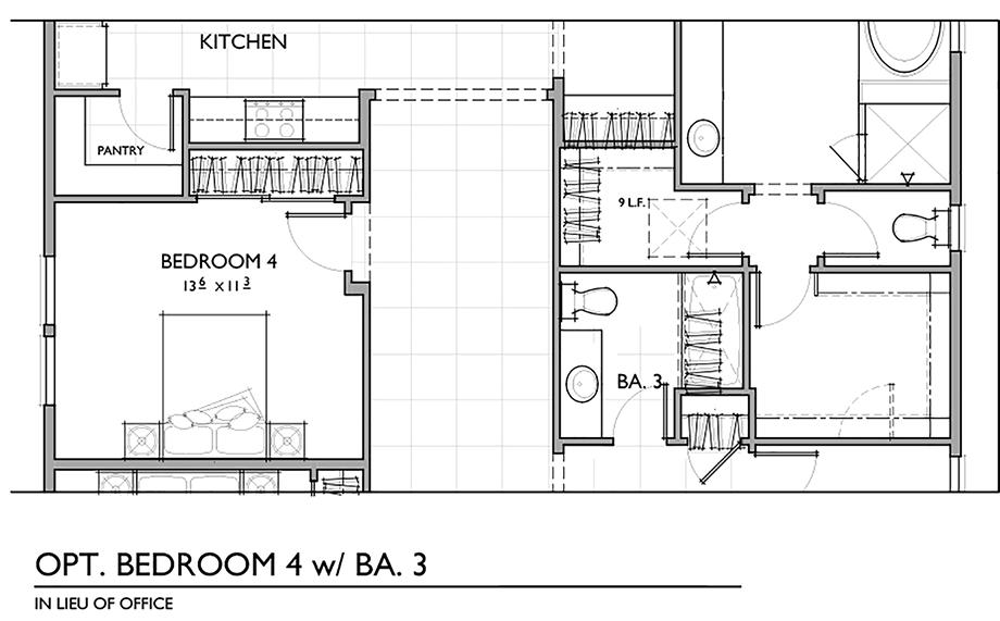 Optional Fourth Bedroom with Bath Floor Plan