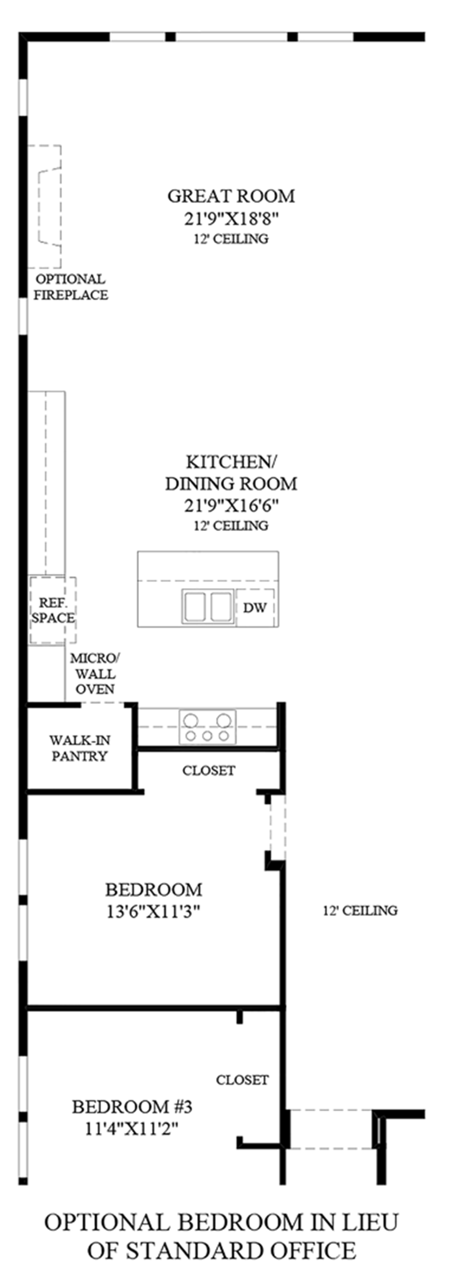 Optional Bedroom ILO Standard Office Floor Plan