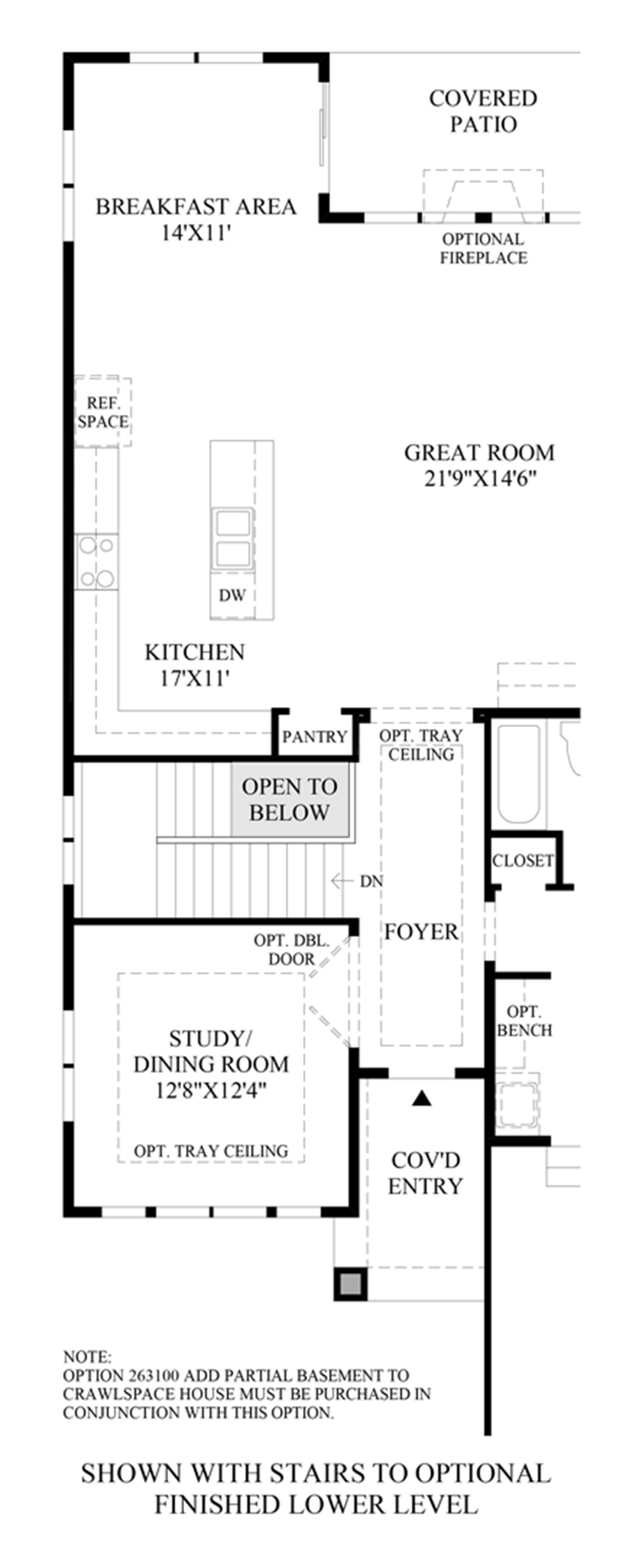 Stairs to Optional Finished Lower Level Floor Plan