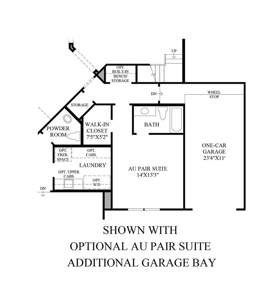 Optional Au Pair Suite/Additional Garage Bay Floor Plan