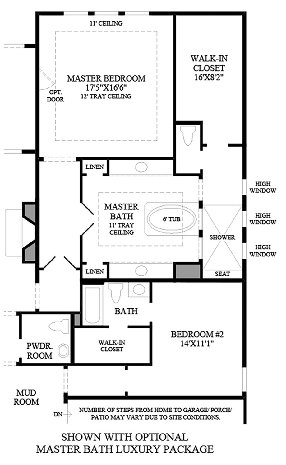 Optional Master Bath Luxury Bath Floor Plan