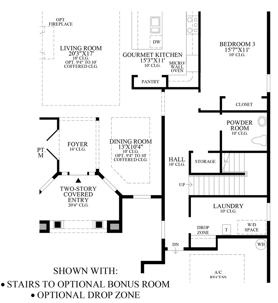 Stairs to Optional Bonus Room/Drop Zone Floor Plan