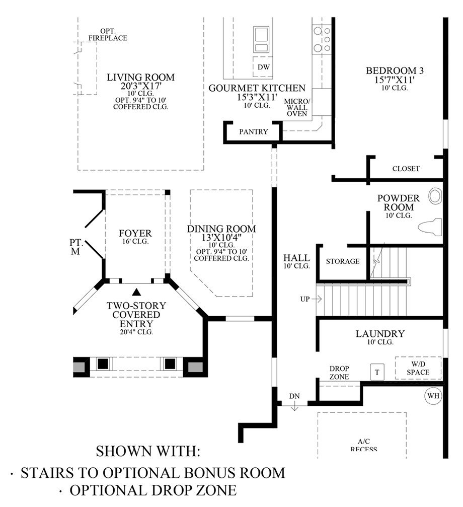 Optional Stairs to Bonus Room & Drop Zone Floor Plan