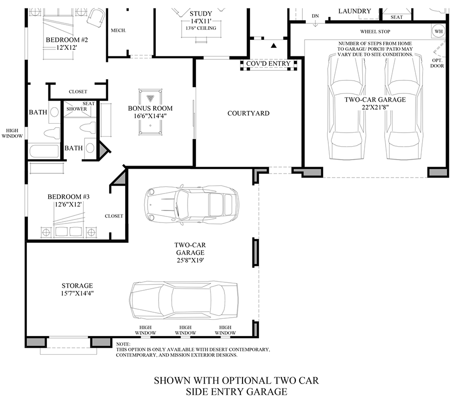 Optional Two Car Side Entry Garage Floor Plan