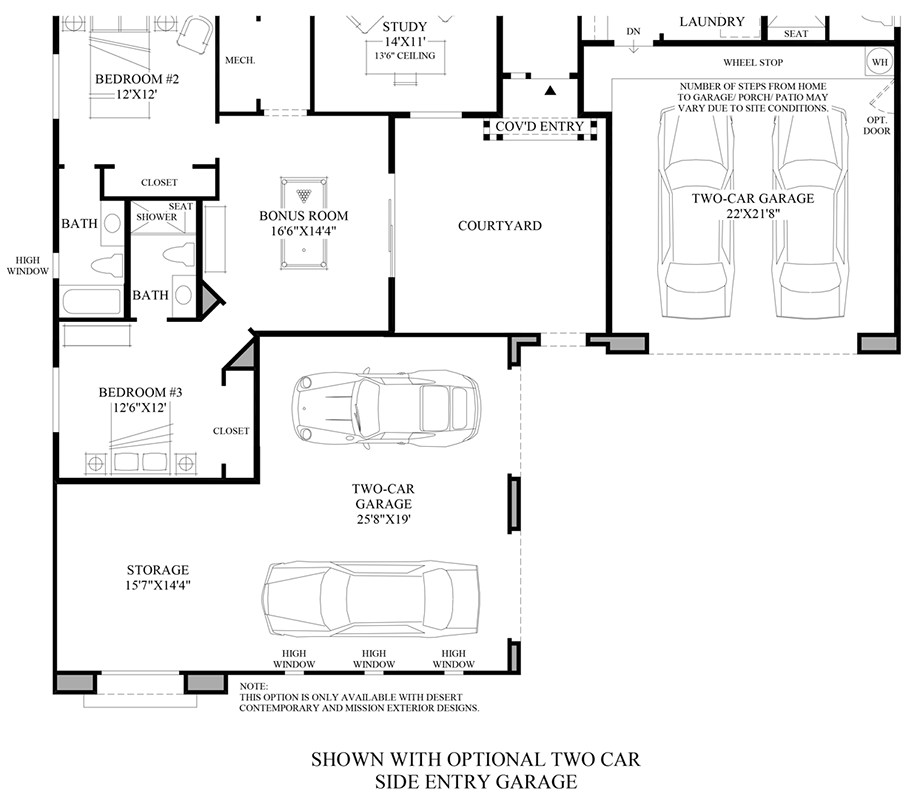 Optional 2-Car Side-Entry Garage Floor Plan