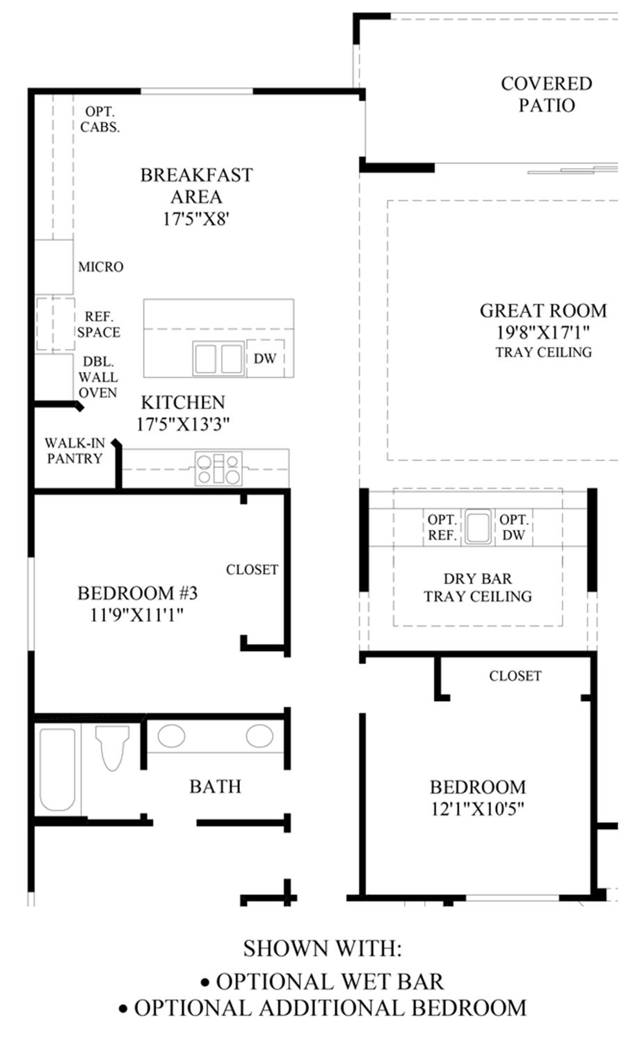 Optional Wet Bar & Additional Bedroom Floor Plan