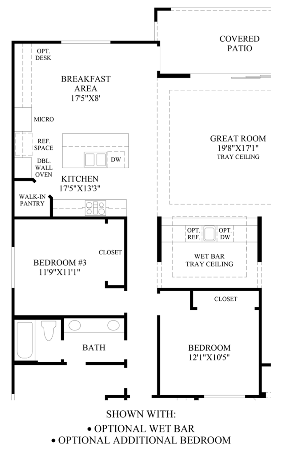 Optional Wet Bar & Additional Bedroom Floor Plan