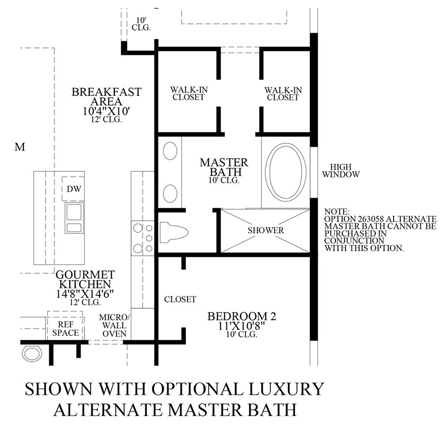 Optional Luxury Alternate Master Bath Floor Plan
