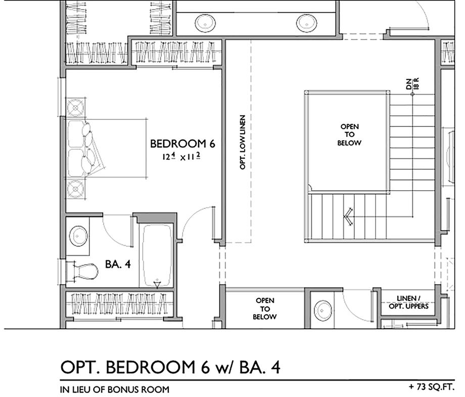 Optional Sixth Bedroom with Bath Floor Plan