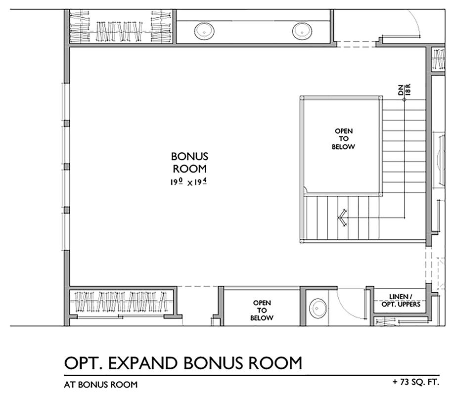 Optional Expanded Bonus Room Floor Plan