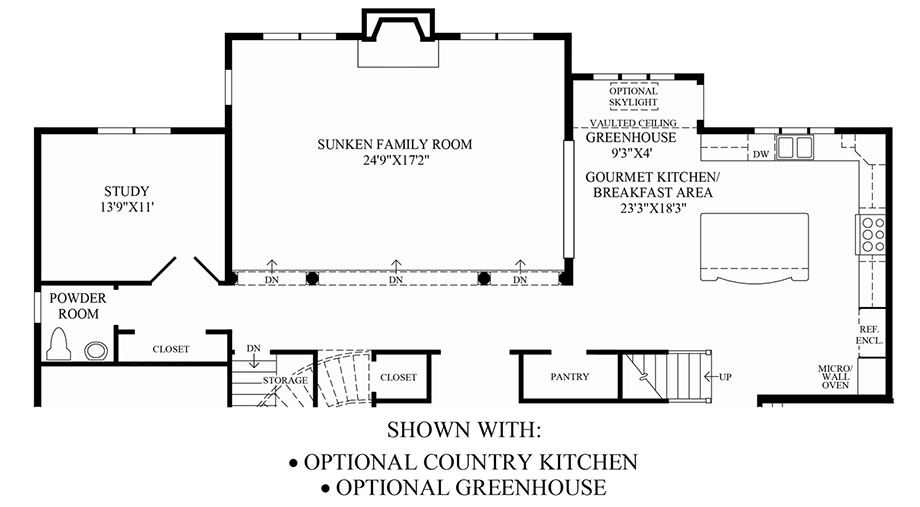 Optional Country Kitchen/Greenhouse Floor Plan