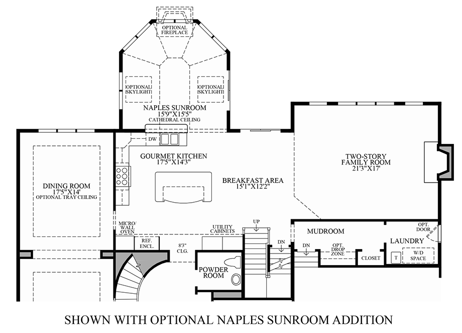 Optional Naples Sunroom Addition Floor Plan