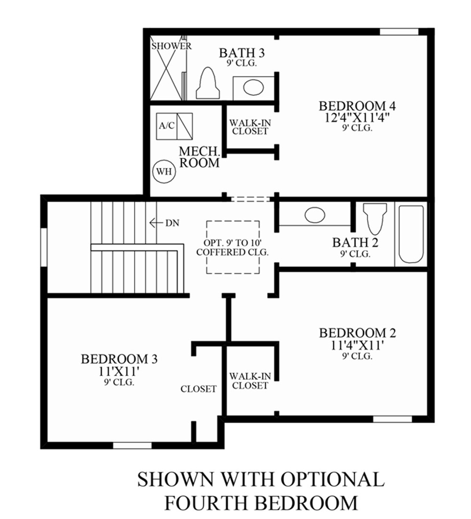 Optional 4th Bedroom Floor Plan