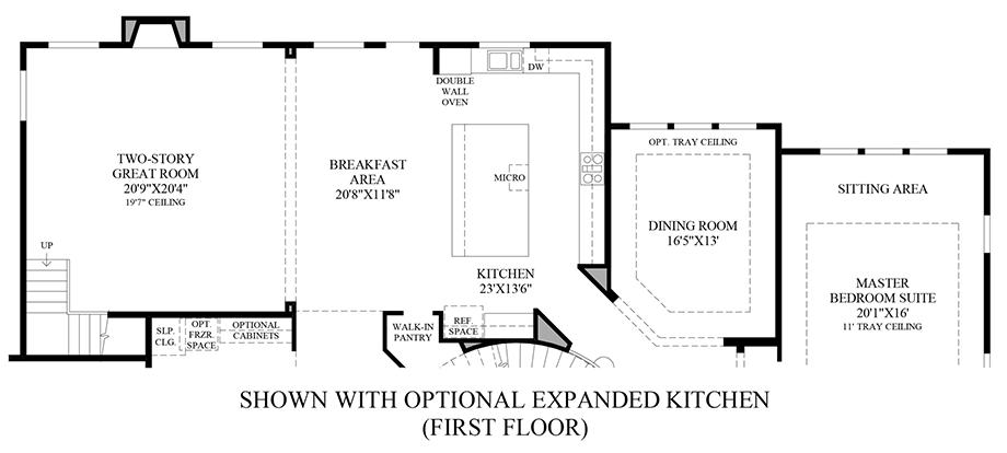 Optional Expanded Kitchen (1st Floor) Floor Plan