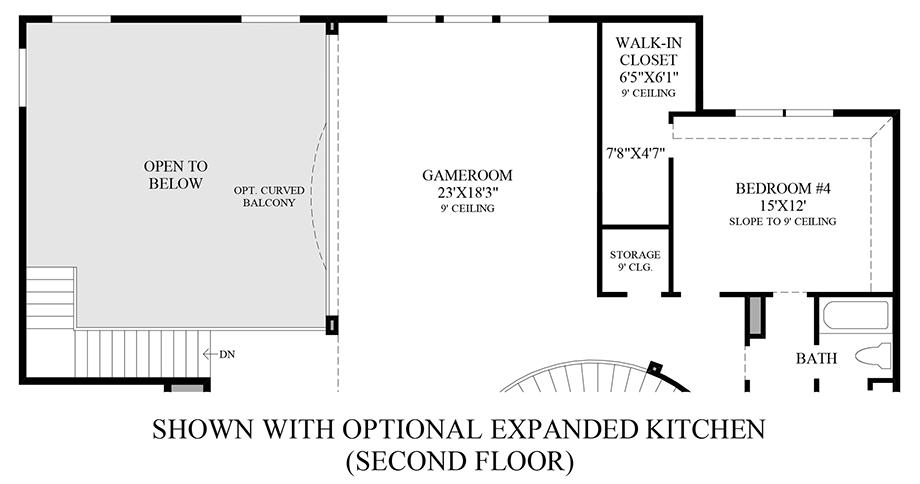 Optional Expanded Kitchen (2nd Floor) Floor Plan