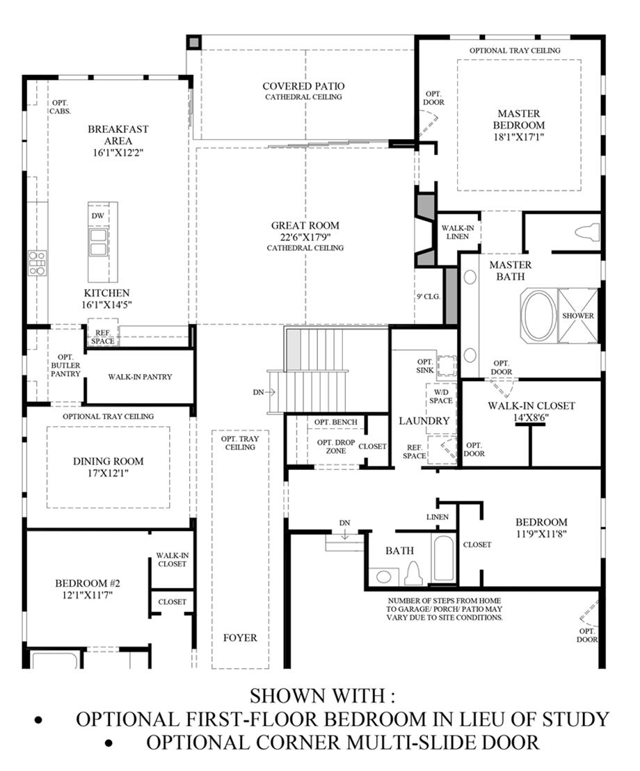 Optional 1st Floor Bedroom ILO Study & Corner Multi-Slide Door Floor Plan