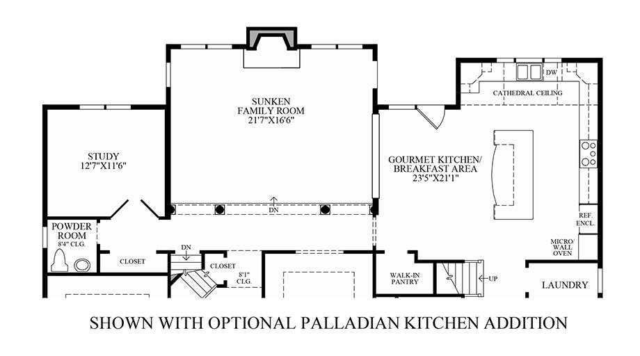 Optional Palladian Kitchen Addition & Country Kitchen Addition Floor Plan