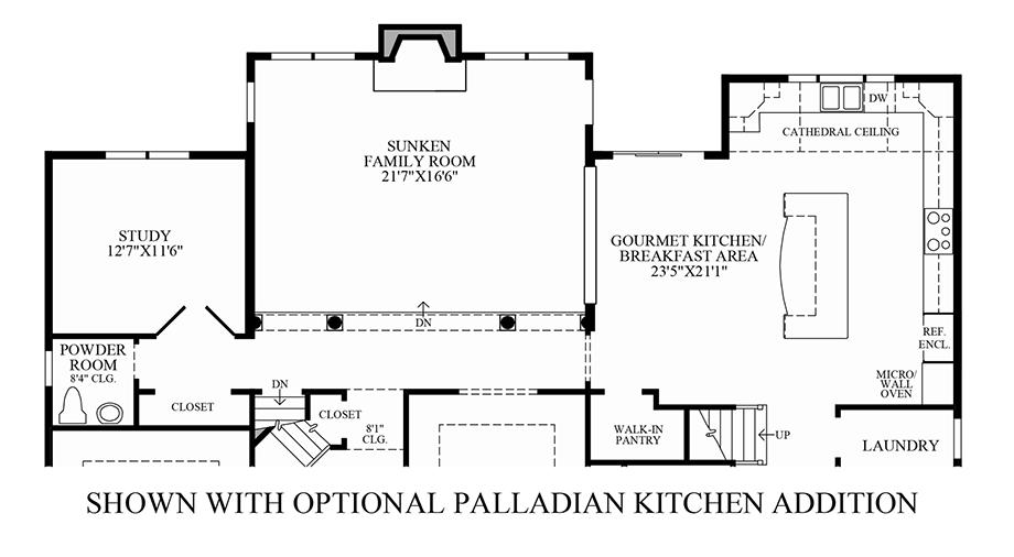 Optional Palladian Kitchen Addition Floor Plan