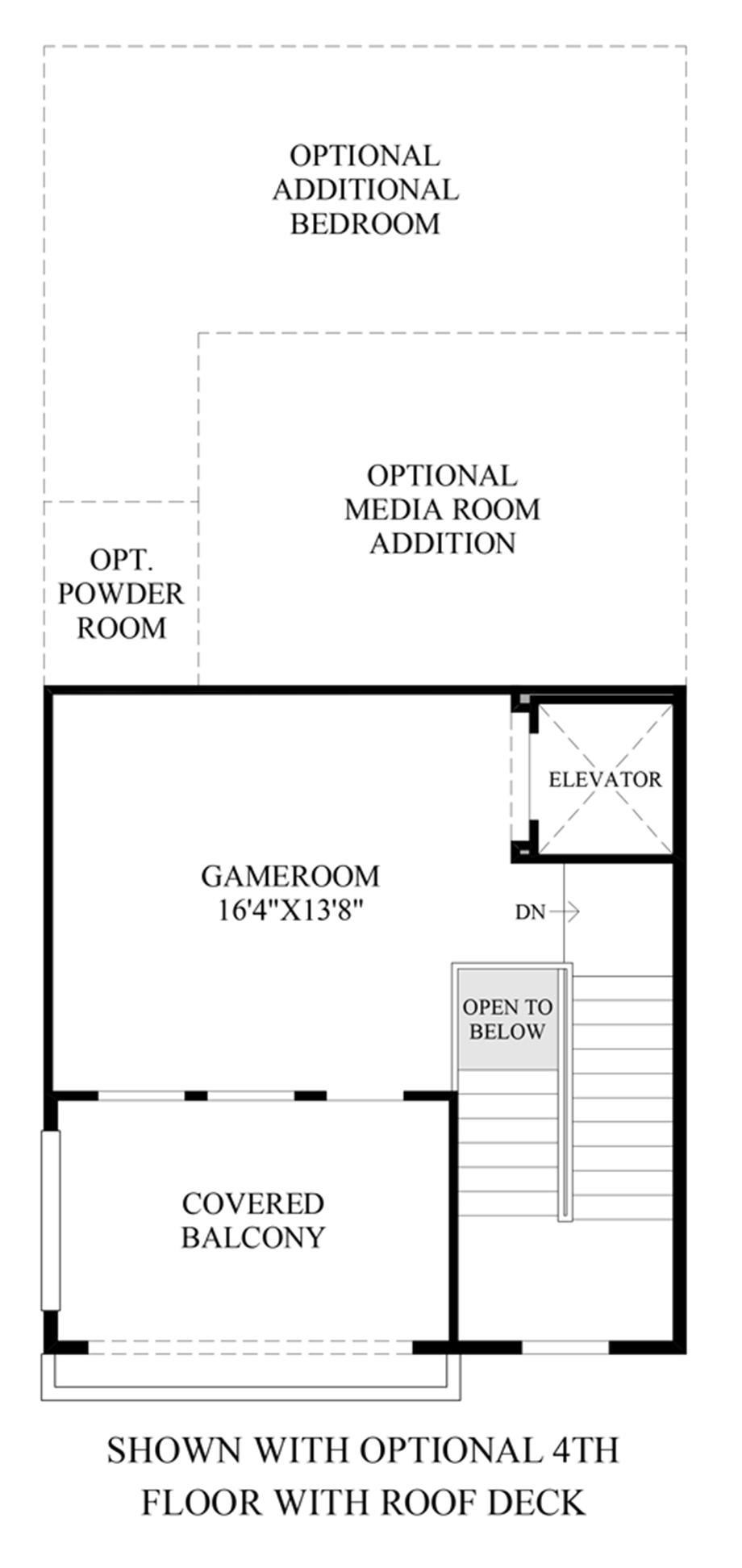 Optional 4th Floor with Roof Deck Floor Plan