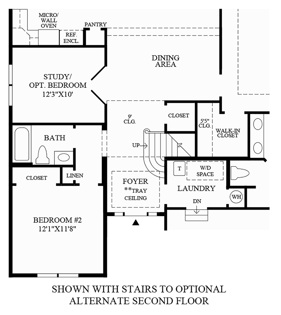 Optional Alternate 2nd Floor & Additional Bath Floor Plan