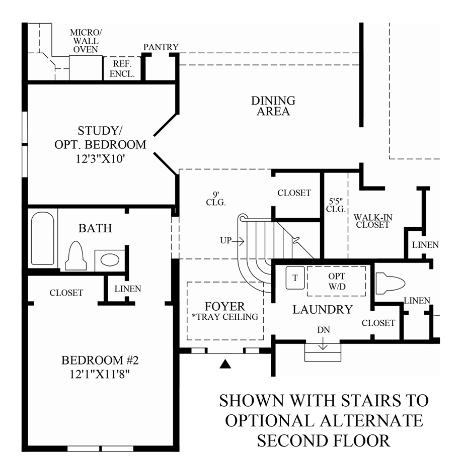 Stairs to Optional Alternate 2nd Floor Floor Plan