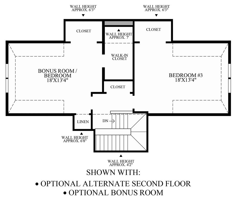 Optional Alternate 2nd Floor & Bonus Room Floor Plan