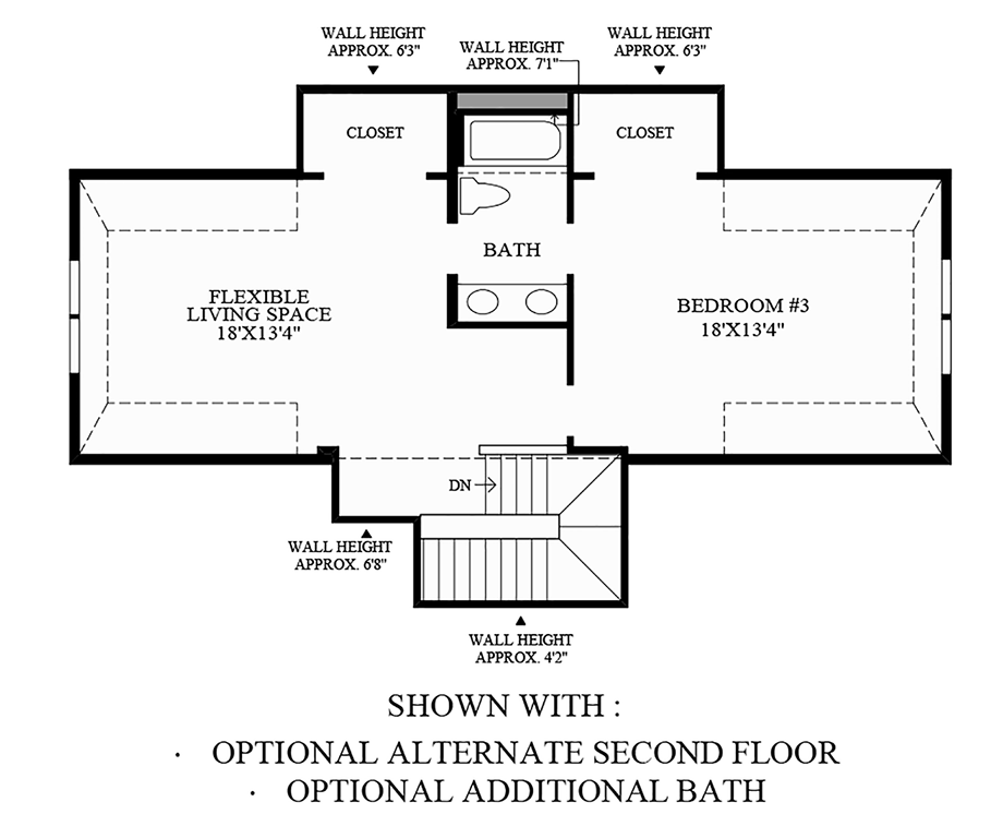 Optional Alternate Second Floor and Additional Bath Floor Plan