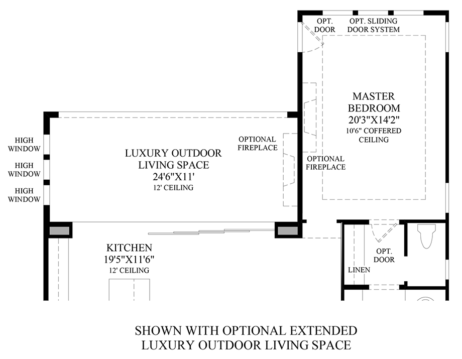 Optional Extended Luxury Outdoor Living Space Floor Plan