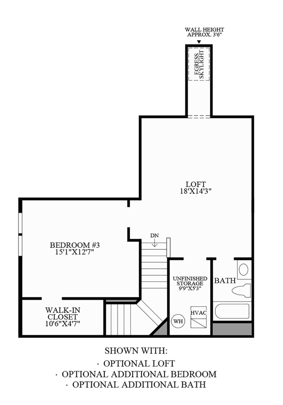 Optional Loft & Additional Bedroom/Bath Floor Plan