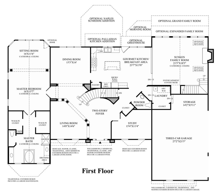 1st floor floor plan for Covington floor plan