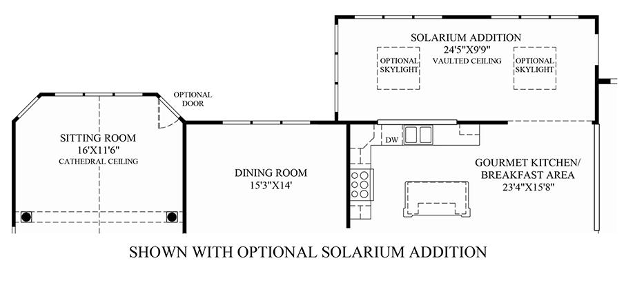 Optional solarium addition floor plan for Covington floor plan