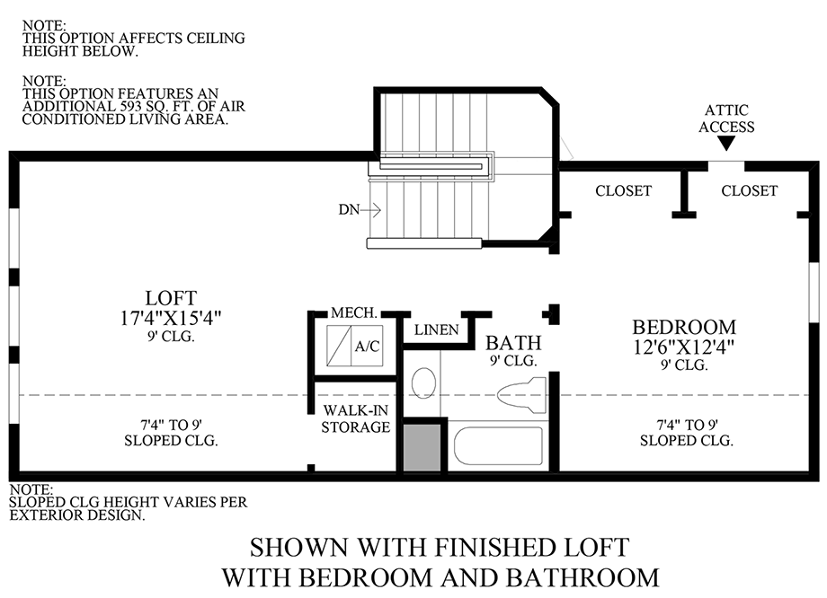 Optional Finished Loft w/ Bedroom and Bath Floor Plan