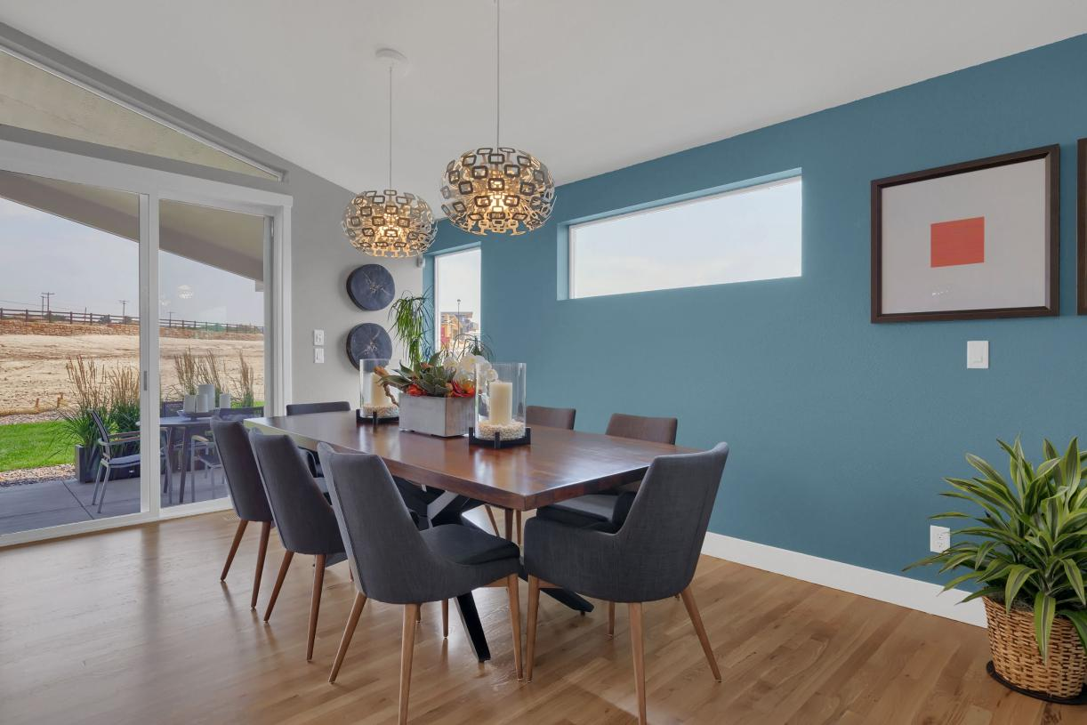 The casual dining area accommodates a family-sized table to gather around