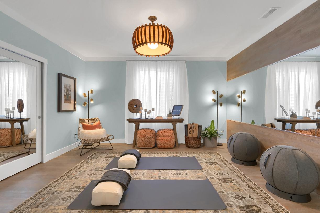 Transform the basement flex room into an at-home yoga studio or secluded office space