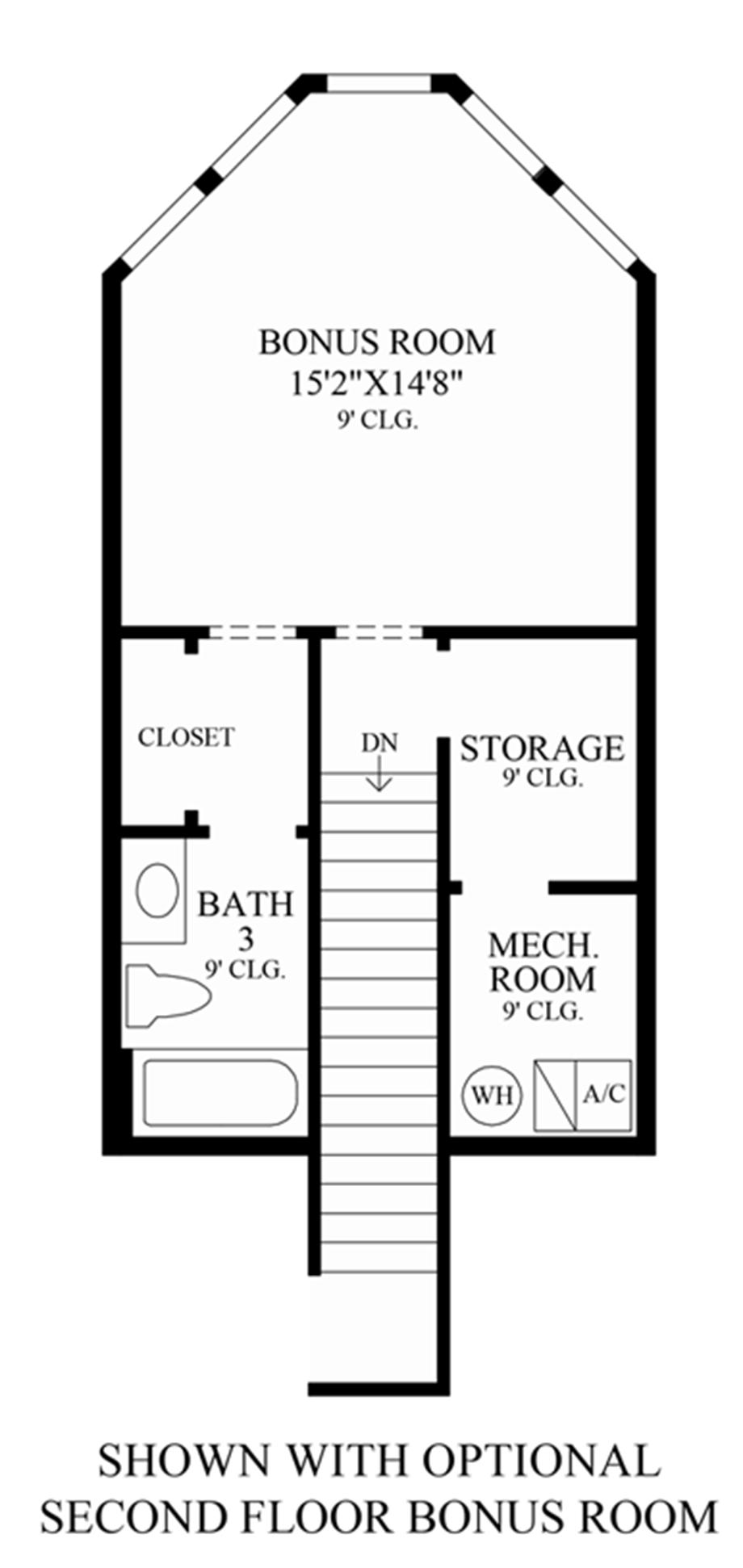 Optional 2nd Floor Bonus Room Floor Plan