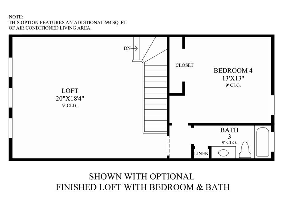 Optional Finished Loft w/ Bed & Bath Floor Plan
