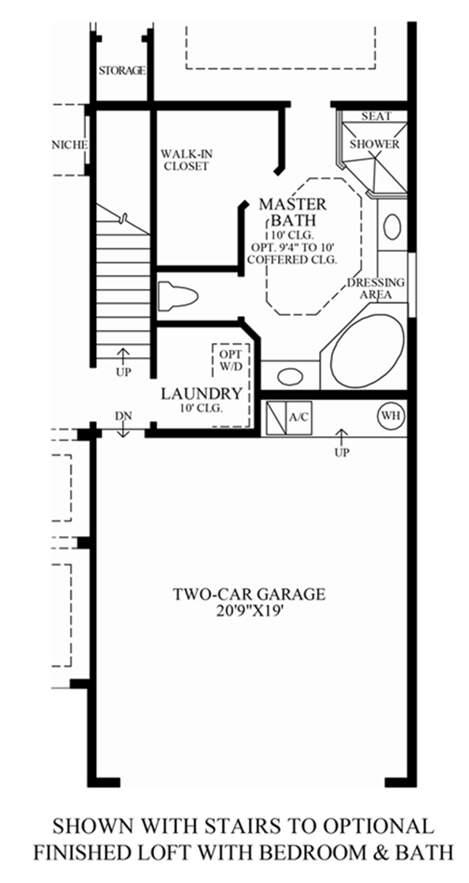 Stairs to Optional Finished Loft w/ Bed & Bath Floor Plan