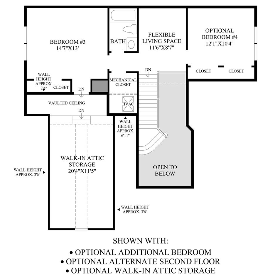 Optional Additional Bedroom, Alternate Second Floor & Walk-In Attic Storage
