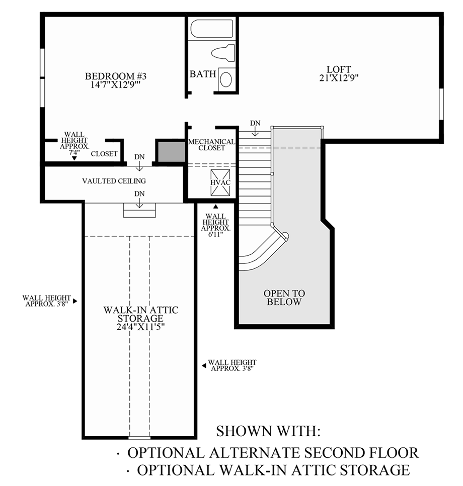 Optional Alternate 2nd Floor & Walk-In Attic Storage Floor Plan