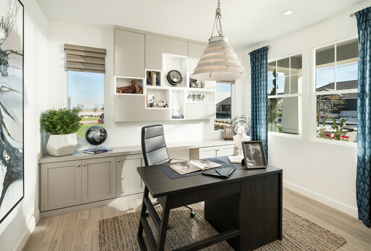 Spacious office at front of home