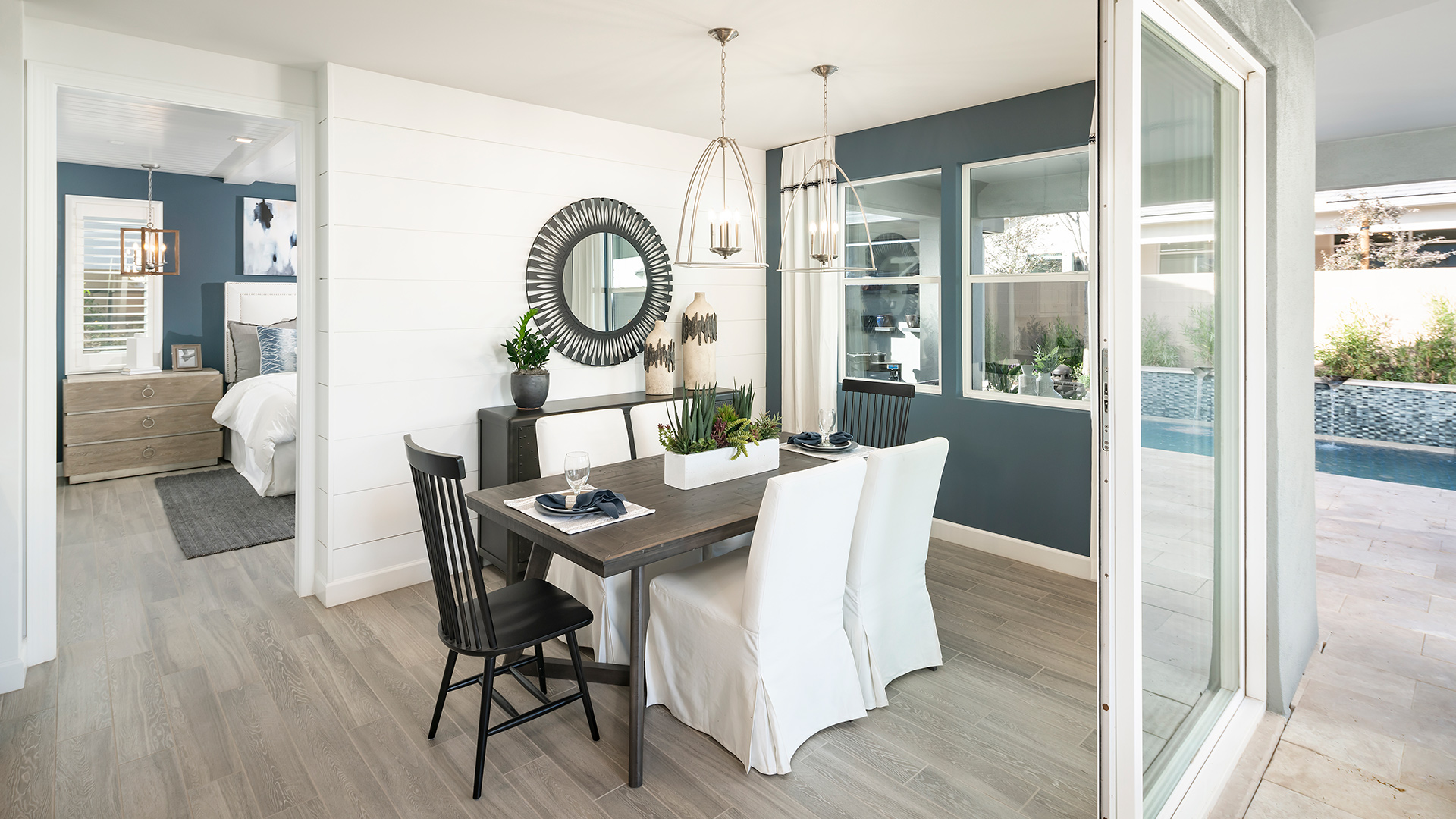 Casual dining area opens to large covered patio
