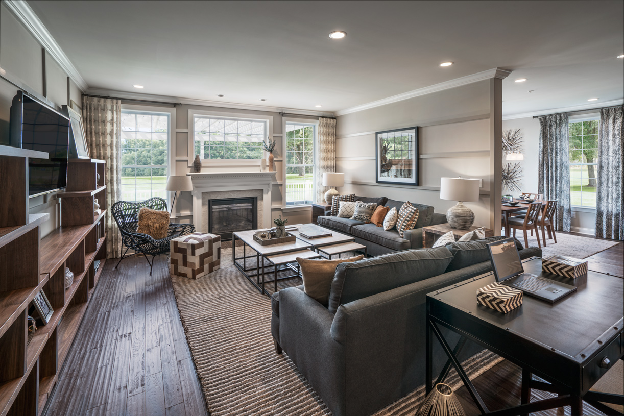 Sunlit great room with gas fireplace