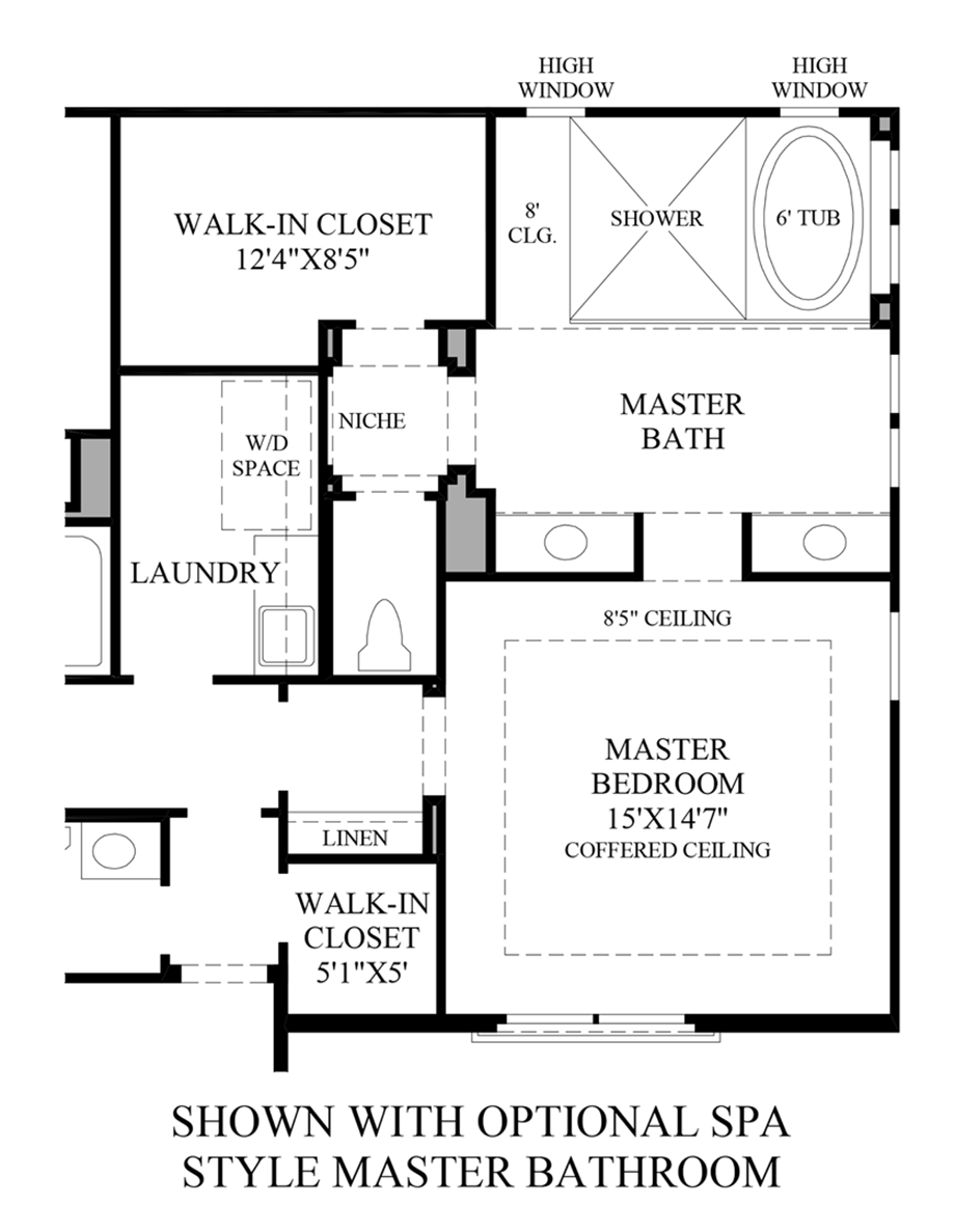 Optional Spa Style Master Bath Floor Plan