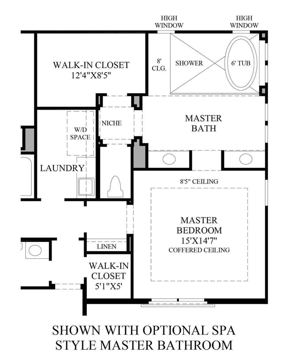 Optional Spa Style Master Bath Floor Plan