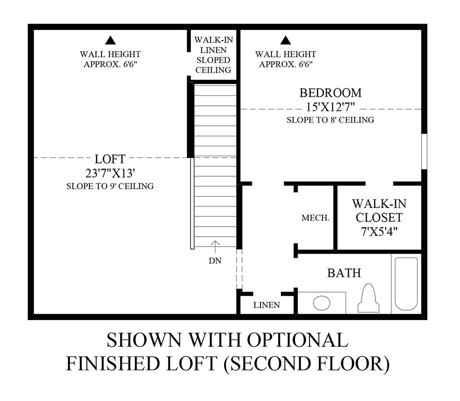 Optional Finished Loft (2nd Floor) Floor Plan